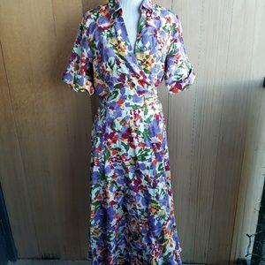 Vintage boho floral linen maxi dress